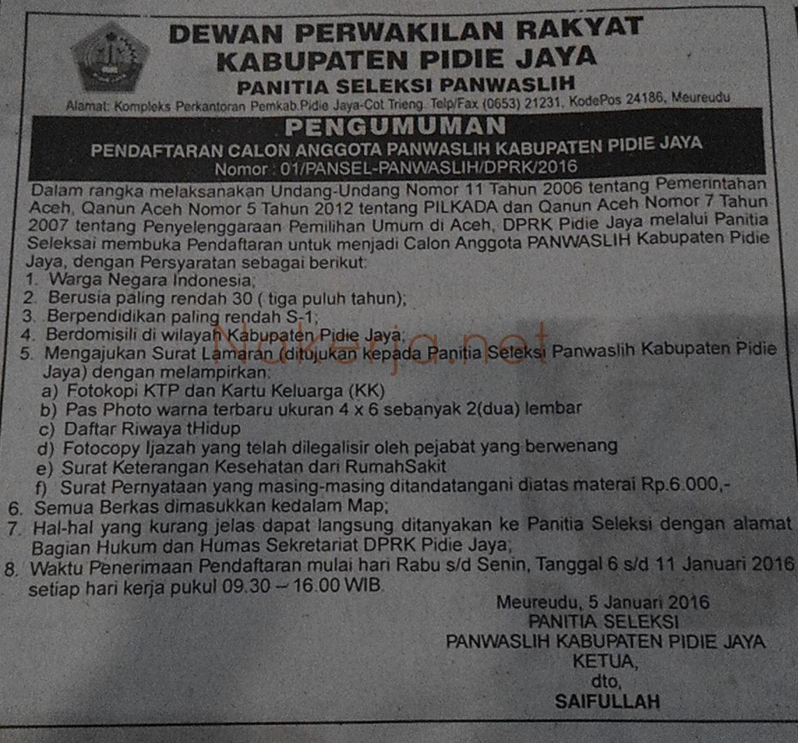 Lowongan Panwaslih Pidie Jaya