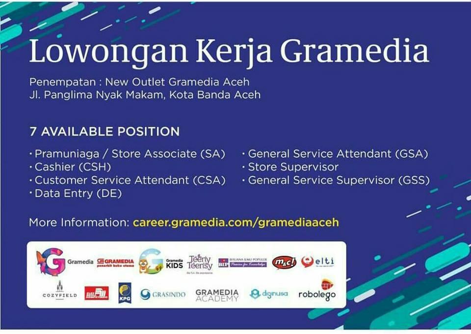 Lowongan Kerja Gramedia Aceh, lowongan kerja gramedia Banda Aceh 2017, lowongan kerja aceh terbaru