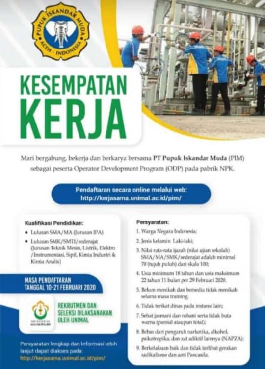 Lowongan Kerja PT.PIM_Feb_2020