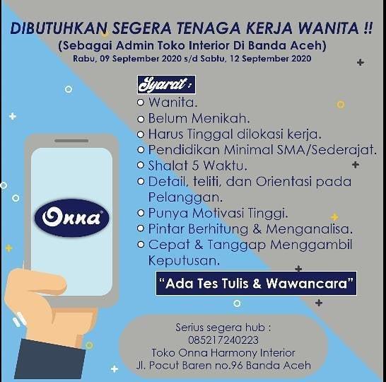 Loker Aceh Admin Toko Wanita